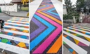 Vạch sang đường đầy màu sắc ở Madrid