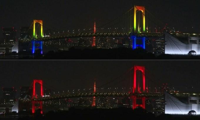 Cầu Vồng chuyển đỏ giữa thủ đô Tokyo