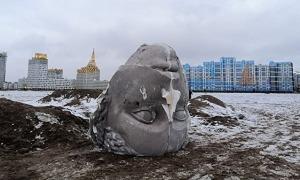 'Mặt người' khổng lồ xuất hiện trên bãi biển