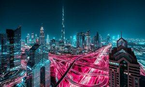 Dubai rực sáng ánh đèn đêm